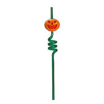 TRIXES groene pompoen spiraal drinken stro - knippert en schreeuwen - voor Halloween feesten en thema-evenementen
