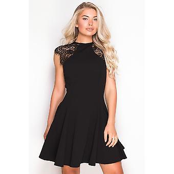 Lace Shoulder Black Skater Dress