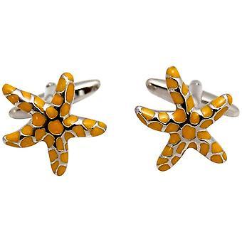 Zennor Starfish Cufflinks - Orange/Silver