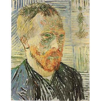 Self-portrait with a Japanese Print, Vincent Van Gogh, 44x35cm