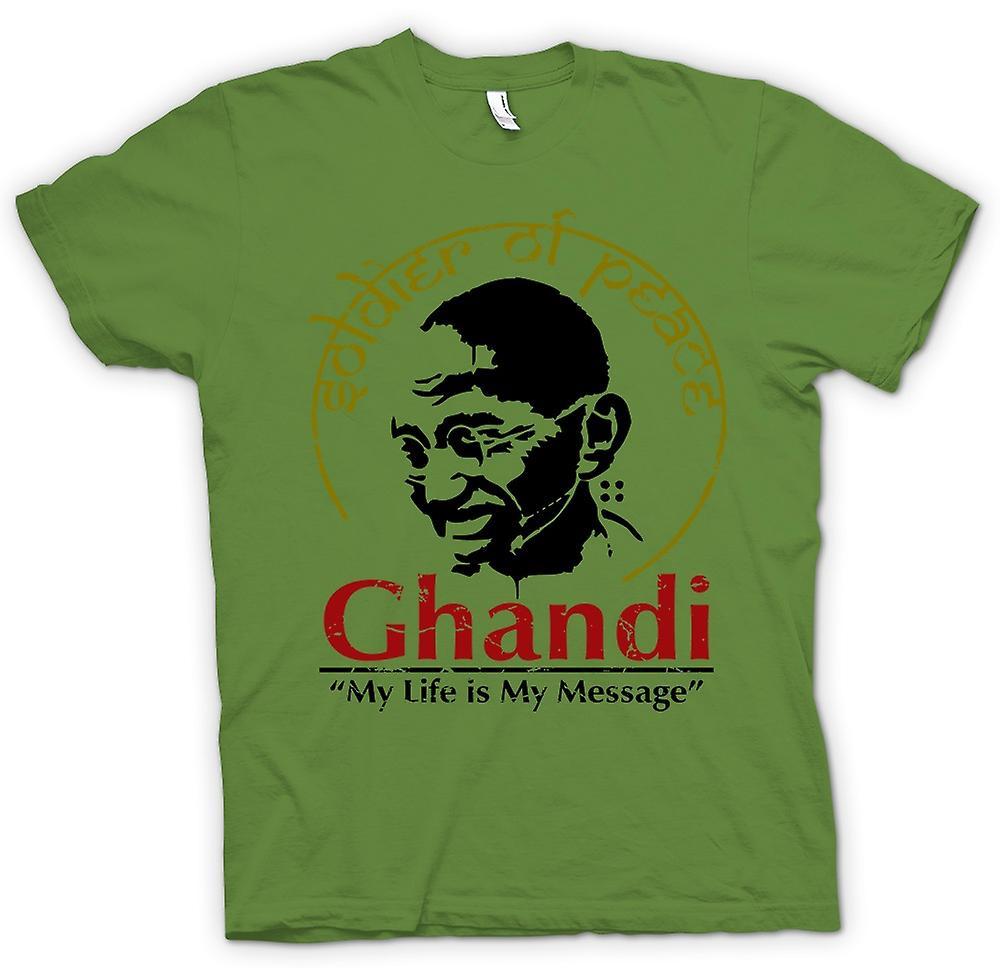 Hombres camiseta-Ghandi mi vida es mi mensaje - India - la libertad
