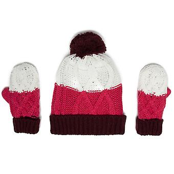 Nuevo peter Storm Girl's Hat and Glove Set Pink