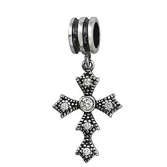 Cross - 925 Sterling Silver Jewelled Beads - W6564X