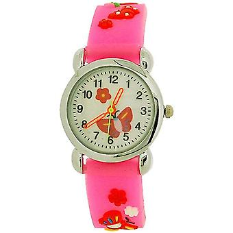Relda Childrens Girl's 3D Red Butterfly Neon Pink Silicone Strap Watch REL43