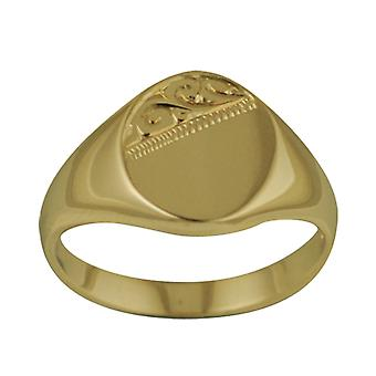 9ct Gold 12x12mm solid hand engraved oval Signet Ring Size J