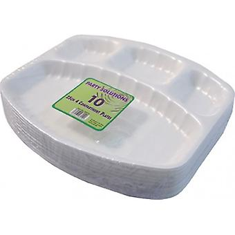 Pack of 10 Plates Poly 4 Compartments 20x25cm Disposable Party Picnic Plate