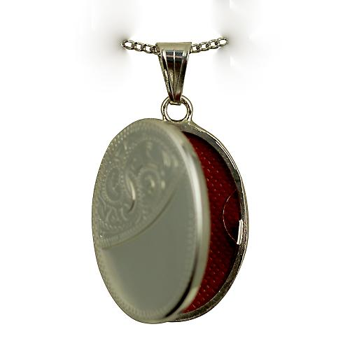 Silver 26x19mm oval flat half hand engraved Locket with a curb Chain 18 inches