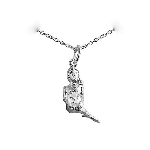 Silver 20x6mm Mermaid Pendant with a rolo Chain 18 inches