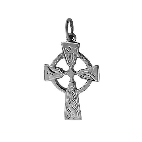 Silver 23x16mm hand engraved knot pattern Celtic Cross
