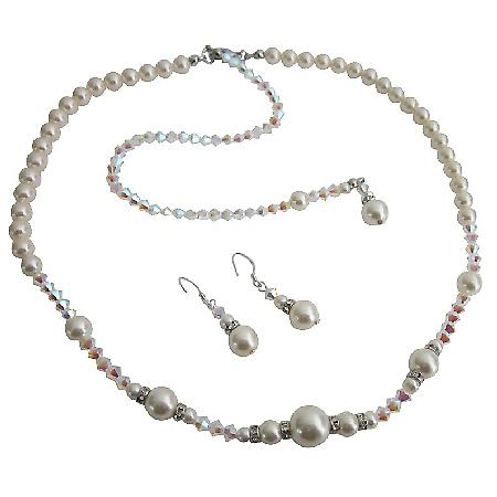 AB 2x Swarovski Crystals w/ Ivory Pearls Bridal Jewelry Back Drop Set