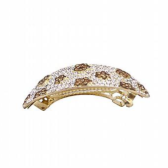 Smoked Topaz Crystals Hair Barrette Prom Bridal Hair Jewelry Clear