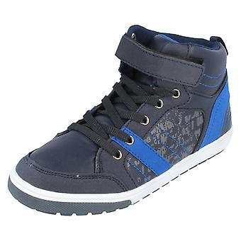 Boys JCDees  Hi Top Trainers N2027 Navy Size 2 UK