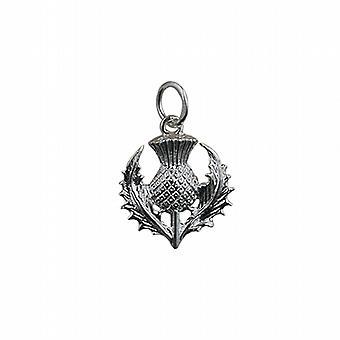 Silber 15mm schottische Distel Anhänger oder Charm