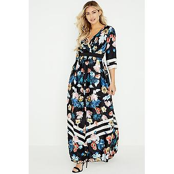 Little Mistress Rossy Floral Stripe Maxi Dress