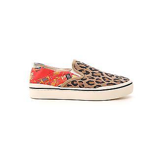 R13 Leopard Fabric Slip On Sneakers