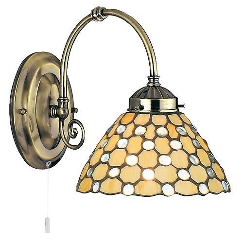 Searchlight 3141-1CL Tiffany Switched Wall Light Cream Tiffany Glass Clear Drops
