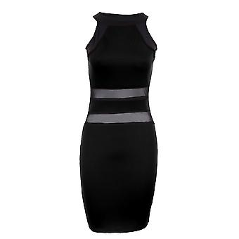Ladies Sleeveless Stripe Contrast Mesh See Through Women's Bodycon Dress