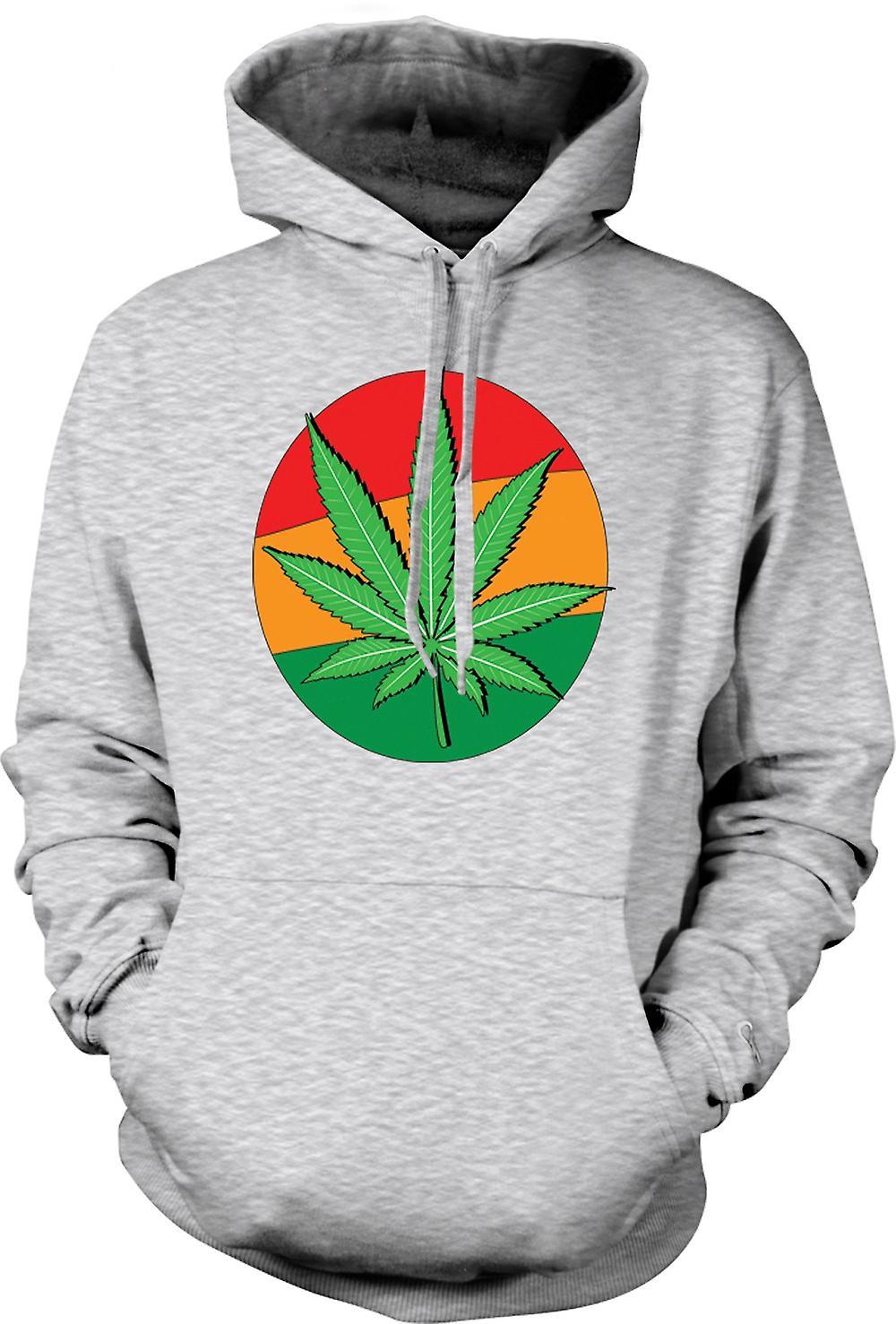 Mens Hoodie - Hash Leaf Jamaica Flag - Cool