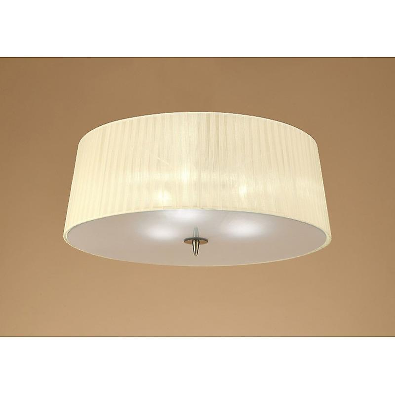 Loewe Ceiling 3 Light E27, Antique Brass With Cream Shade