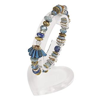 Ewige Sammlung Sardinien kristallblauen Multi Two Tone Stretch Perlen Bettelarmband