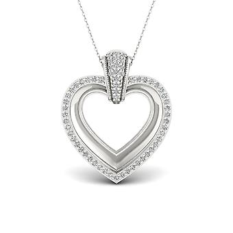 IGI Certified S925 Sterling Silver 0.15ct TW Diamond Heart Necklace