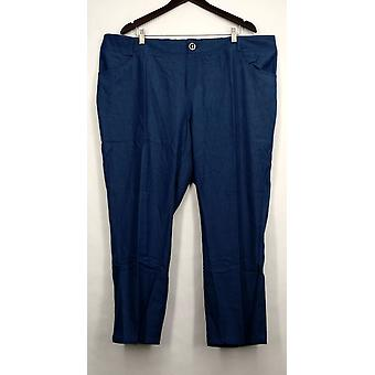 IMAN Petite Pants Skinny Leg Buttoned Pocketed Blue Womens