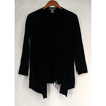Kate & Mallory Sweater Cascade Front Cardigan Whip Stitch Black A427723