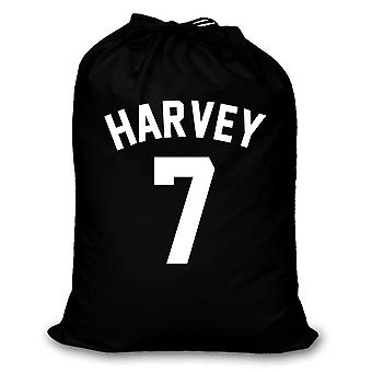Black Laundry Bag Personalised Football Shirt Style Storage Organisation Home Bedroom Son Daughter Washing