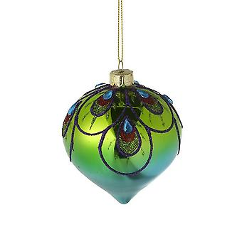 Colourful Glittery Peacock Glass Onion Bauble