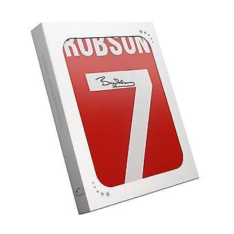 Bryan Robson signé chemise 1984 Manchester Uni dans une boîte cadeau