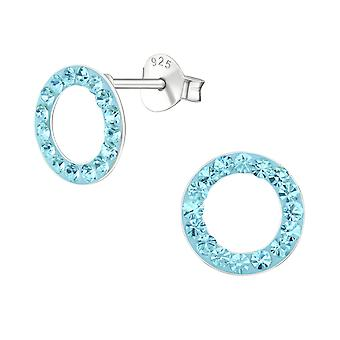 Circle-925 Sterling Silver Crystal Ear Studs-W18750X