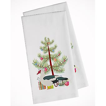 Muscovy Duck Christmas White Kitchen Towel Set of 2