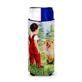 Little Boy with his  Golden Retriever Ultra Beverage Insulators for slim cans SS