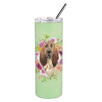Bloodhound Green Fiori Doppio Murato In acciaio inossidabile 20 oz Skinny Tumbler