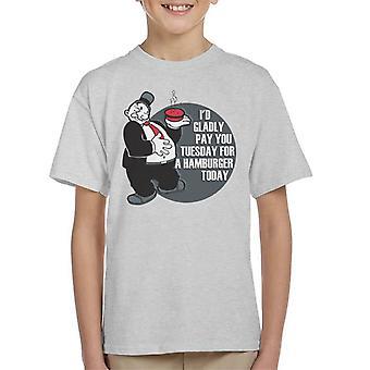 Popeye Wimpy Hamburger Quote Kid's T-Shirt