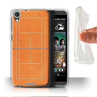 STUFF4 Gel/TPU Case/Cover for HTC Desire 820s Dual/Orange Clay Court/Tennis Courts