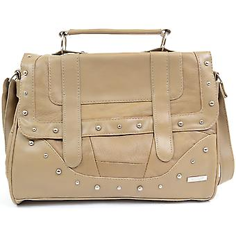 Ladies / Womens Leather Shoulder Bag / Small Satchel with Top Carrying Handle - Fawn