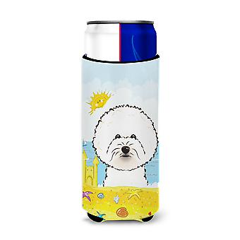 Bichon Frise Summer Beach Michelob Ultra Koozies for slim cans BB2085MUK