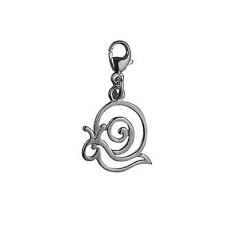 Silver 15x17mm pierced Snail Charm with a lobster catch