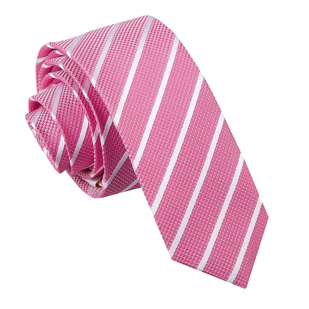 Single Stripe Hot Pink & White Skinny Tie