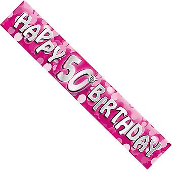 50th Pink 12ft Happy Birthday Banner Holographic Sparkle Party Decorations