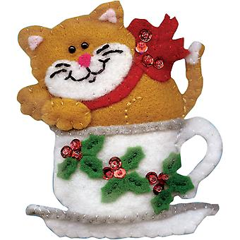 Teacup Cat Ornament Felt Applique Kit-3