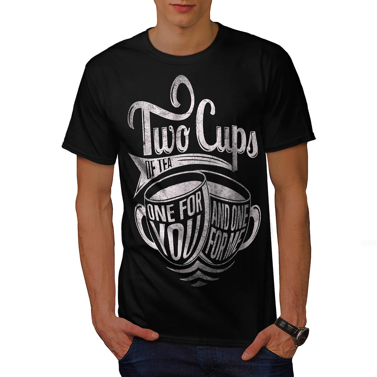 2 Cups of Tea Brew Coffee Love Men Black T-shirt | Wellcoda
