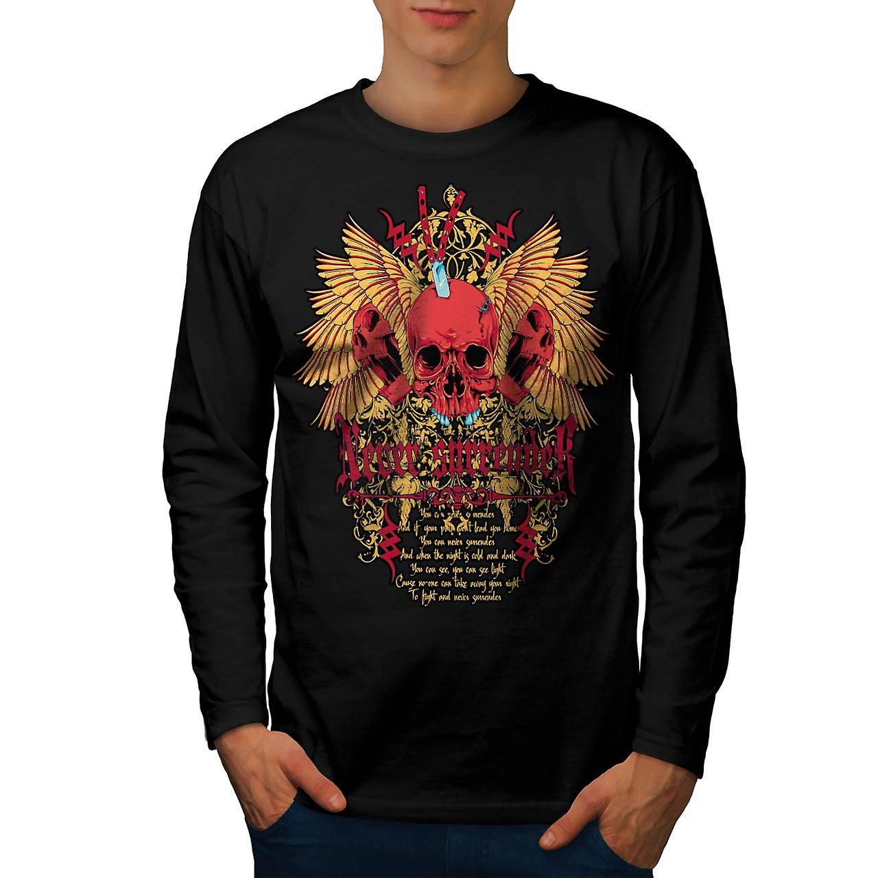 Skull Never Surrender Men Black Long Sleeve T-shirt | Wellcoda