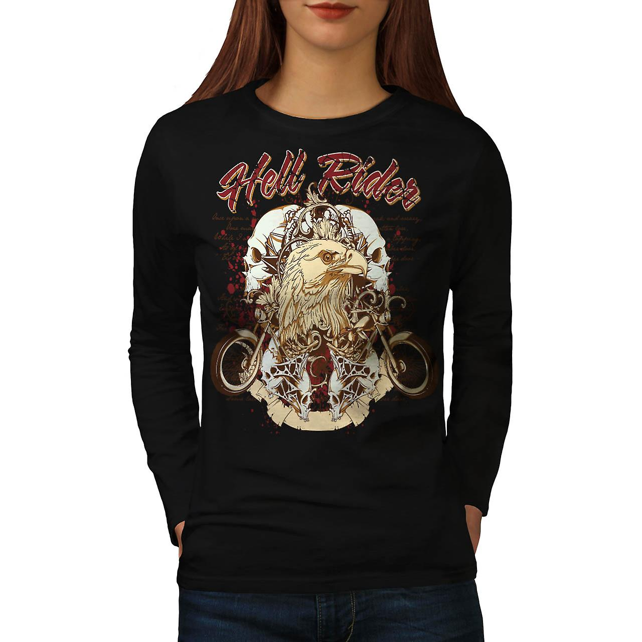 Hell Rider Biker Life Eagle Bike Women Black Long Sleeve T-shirt | Wellcoda