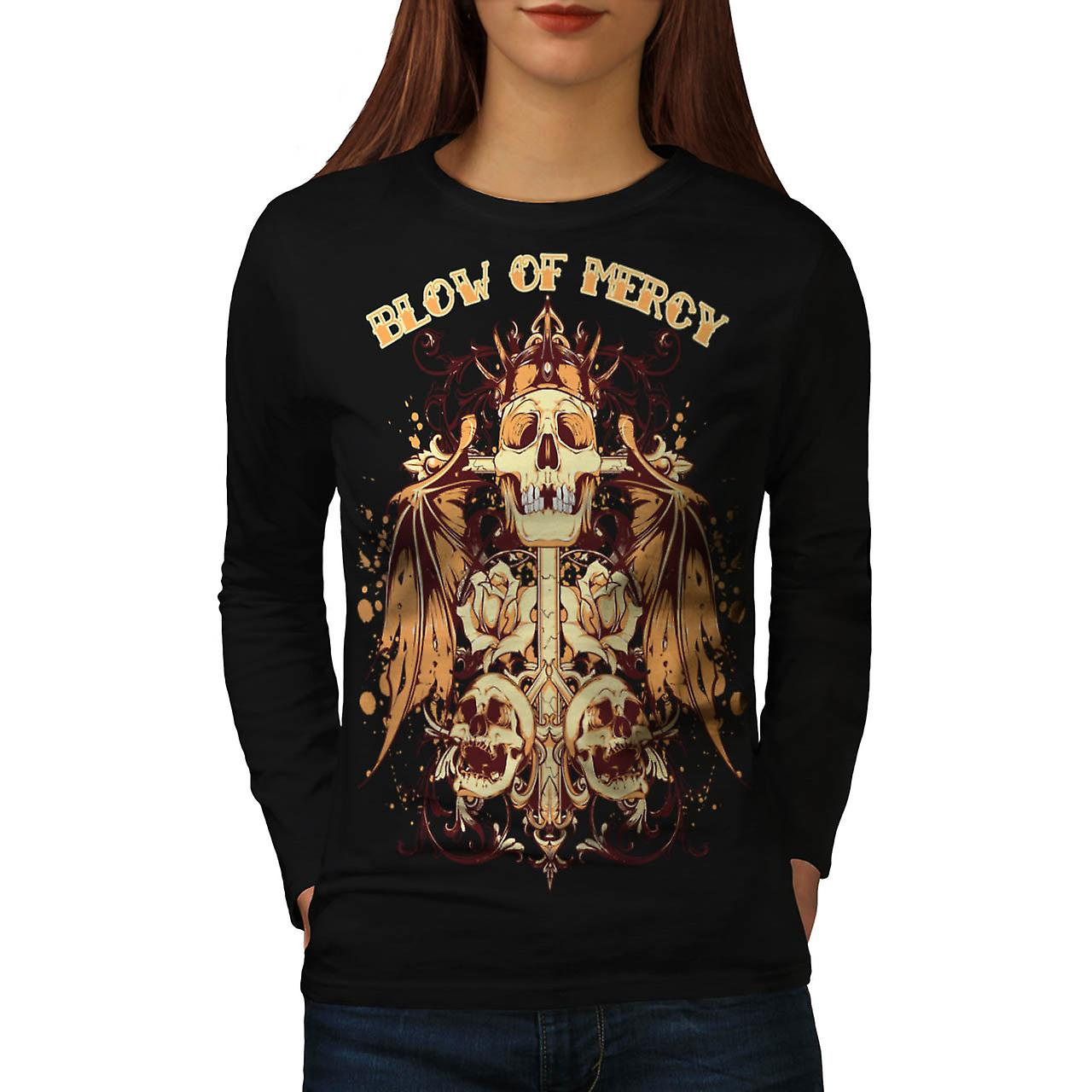 Blow Of Mercy Skull Tomb Stone Women Black Long Sleeve T-shirt | Wellcoda