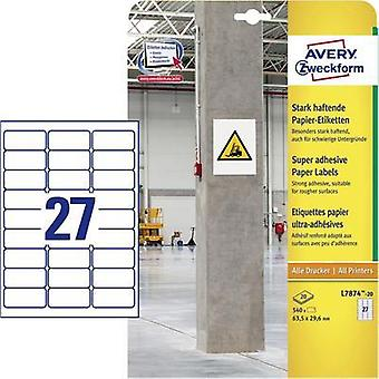 Avery-Zweckform L7874-20 Labels (A4) 63.5 x 29.6 mm Paper White 540 pc(s) Permanent, Strongly adhesive Adhesive labels (