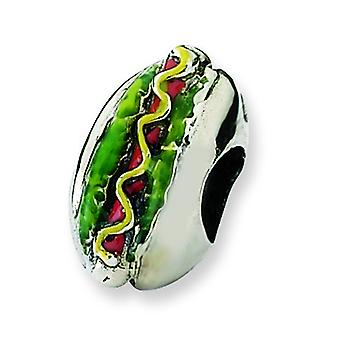 Sterling Silver Polished Antique finish Reflections Enameled Hot Dog Bead Charm