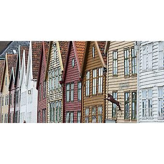 Bunte Häuser In A Row Bergen Norwegen PosterPrint