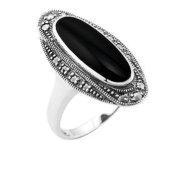 Стерлингового серебра 1,30 ct черный оникс & 0,23 ct марказит ар-деко коктейль кольцо